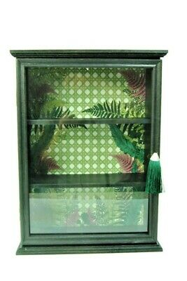 £39.99 • Buy Storage Wall Wooden Cupboard Glass Opening Door And Green Foliage Pattern.
