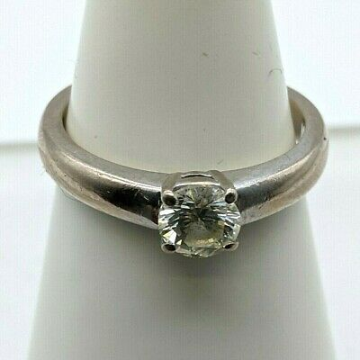 18 Ct White Gold Solitaire Diamond Ring With 0.50 Ct Diamond, Round Brilliant • 525£