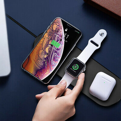 $ CDN15.08 • Buy 15W 3in1 Qi Wireless Charger Pad Mat For Apple IWatch 5/4/3/2/1 IPhone 11 8 XS