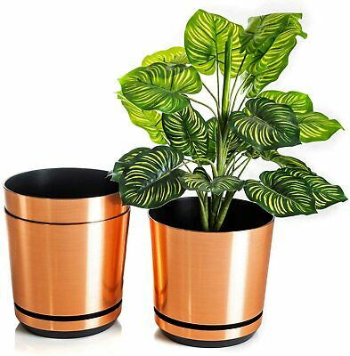 Modern Plastic Flower Plant Pot Decorative Copper Indoor Planter With Saucer • 12.99£