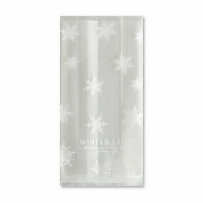 £4.60 • Buy 50x White Snowflakes Christmas Cellophane Bags Party Cookies Plastic Winter Snow