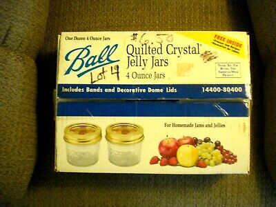 $6 • Buy Ball Quilted Crystal Jelly Jars 12 - 4 Ounce Jars VG Condition