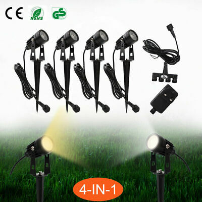 4 Packs LED Outdoor Garden Spot Lights Plug 12V Path Lawn Waterproof Spike Light • 10.99£
