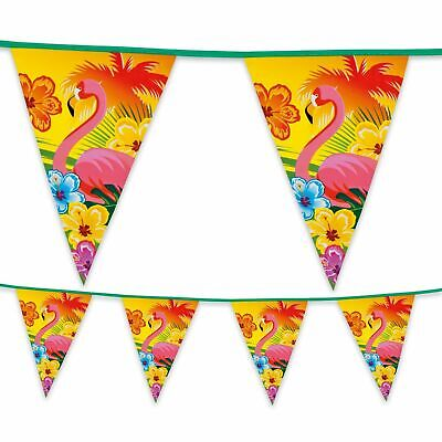 Hawaiian Luau Floral Flamingo Tropical  Bunting Flag Plastic Banner Decoration  • 3.89£