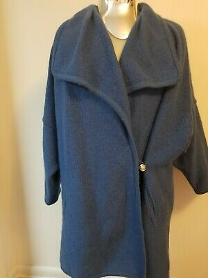 $45.58 • Buy Geiger Collection Jacket Womens 42 US 12 Blue Mohair Wool Cardigan Sweater