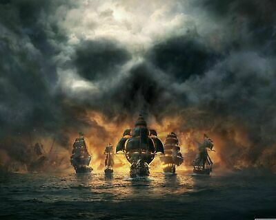 Pirate Ship - Skull In Clouds Sea CANVAS 20x30 Inches Wall Art • 17.99£