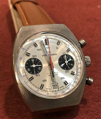 $ CDN1020.05 • Buy Rare Vintage Wakmann Chronograph Watch Panda Dial Valjoux 7734 Charles Gigandet