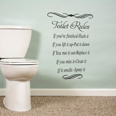 Toilet Rules Wall Sticker Bathroom Quote Vinyl Removable Decals Art Home Decor • 3.89£
