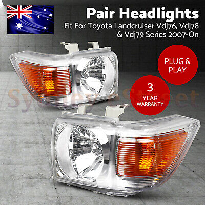 AU279 • Buy Pair Headlights Fit TOYOTA LANDCRUISER VDJ70, VDJ76, VDJ78 & VDJ79 07-ON Silver
