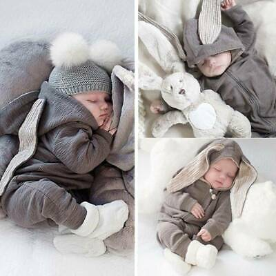 AU20.69 • Buy Newborn Baby Boy Girl Kids Rabbit Hooded Romper Jumpsuit Clothes Outfit Winter