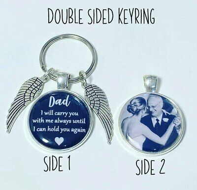 Personalised DAD Bereavement Photo Keyrying DOUBLE SIDED Memory Gift Fathers Day • 7.50£