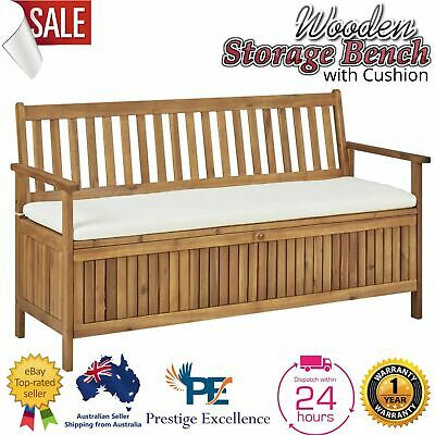 AU359.97 • Buy Storage Bench Chair W/ Cushion Wooden Outdoor Garden Furniture Patio Timber Seat