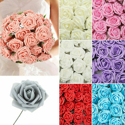 50pcs Artificial Flowers Foam Rose Fake Flower With Stem Wedding Party Bouquet • 7.99£