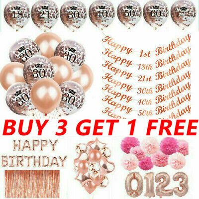 £4.99 • Buy Rose Gold Happy Birthday Bunting Banner Balloons 18/21st/30/40/50/60 Party Decor