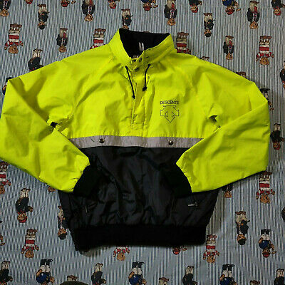 $34.99 • Buy Descente Jacket Reflective Yellow Black Fleece Lined MEDIUM Anorak Pullover Hood