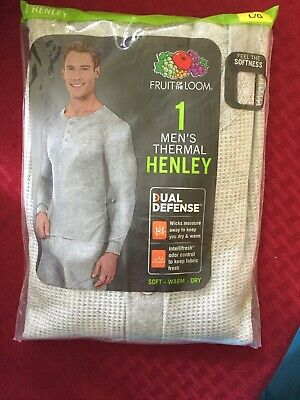 $10 • Buy Fruit Of The Loom Mens Grey Long Sleeve Thermal Henley Shirt Size Large L 42-44