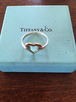 Tiffany & Co Silver & 18K Yellow Gold Heart Ring Size Approx 6 1/2 UK • 165£