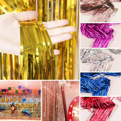 2M/3M Tinsel Shimmer Foil Fringe Door Curtain Wedding Birthday Party Decorations • 2.54£