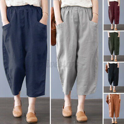 ZANZEA Womens Cargo Harlan Baggy Pants Casual Loose Cotton Linen Harem Trousers • 7.59£
