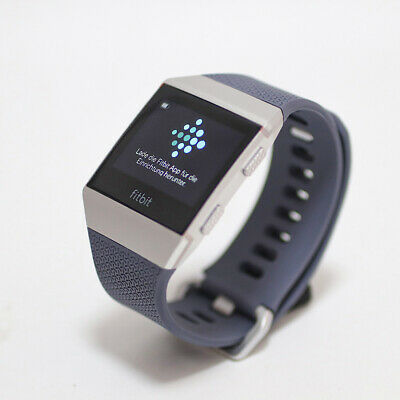 $ CDN127.57 • Buy Fitbit Ionic GPS Fitness Smart Watch - Silver Pebble With Blue Strap