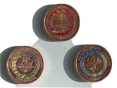 AU12.95 • Buy Commonwealth Game - $2 Dollar Coin Set Of 3 Australia Circulated VGC Or Better.