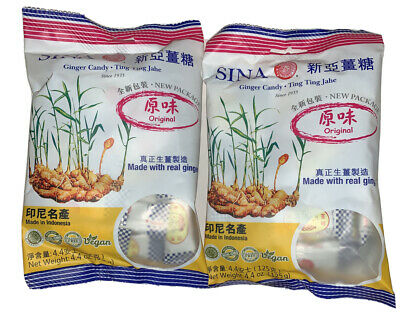Ginger Chewy Candy 4.4oz Ea- Ting Ting Jahe By Sina( 2 PACKAGE), Vegan GF • 2.31£