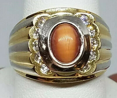$826.86 • Buy GOLD 14k Mens Ring Cats Eye Yellow White Simulated Diamond Size 10 Ask 8 9 11 12