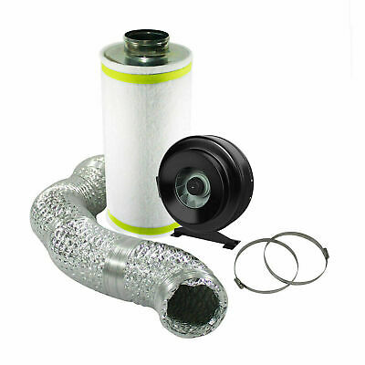 4  Hydroponic Ventilation Kit In Line Fan Carbon Filter Ducting EXTRACTION  • 74.50£