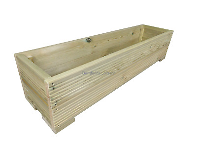 Large Decking Planter Trough, Raised Wooden Garden Flower Bed Box, Various Sizes • 42.99£