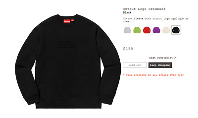 $ CDN306.67 • Buy Supreme Cutout Logo Crewneck Box Logo Black Size XL EXTRA LARGE SS20