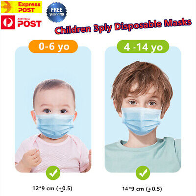 AU9.99 • Buy Children Kids Face Mask Disposable Anti Bacterial 3 Layer Kid Masks Protective