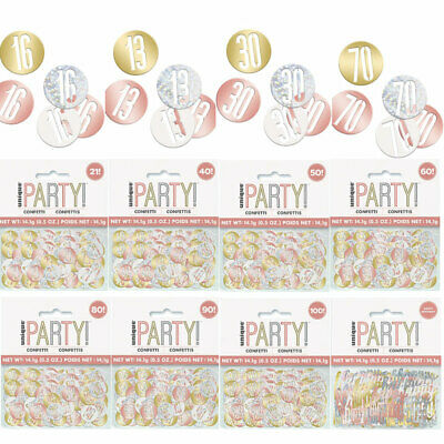£1.99 • Buy Rose Gold Glitz Foil Table Confetti Birthday  Party Decoration  Ages 13-100