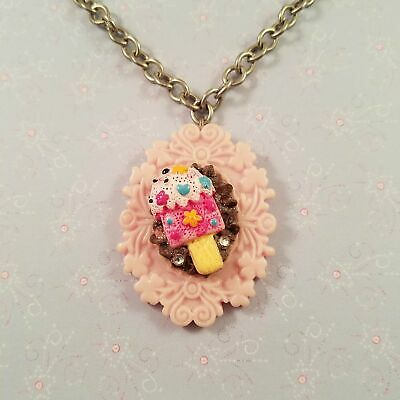 FINAL SALE Decoden Style Cameo Necklace - Pink Ice Cream With Chocolate Whipped  • 5.78£