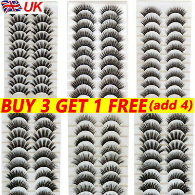 10 Pairs 3D Mink False Eyelashes Wispy Cross Long Thick Soft Fake Eye Lashes  UK • 3.49£