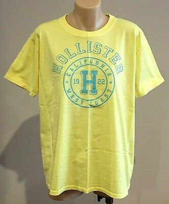 AU16.95 • Buy Abercrombie & Fitch HOLLISTER T-SHIRT Womens Yellow Logo Tee Top Size XS NWT
