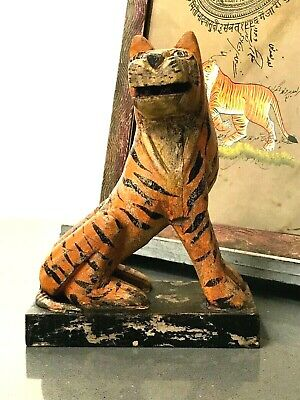 Vintage Indian Wooden Toys. Bengal Tiger. Wonderful Patination. New Old Stock.  • 65£