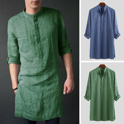 INCERUN Men's Kurta Clothing Long Sleeve Kaftan Slim Fit T Shirt Tunic Dress UK • 13.98£