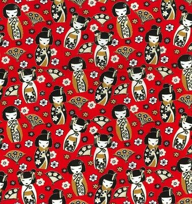 Geisha Japanese Woman / Girl Oriental Fabric 100% Cotton Material Chinese Red  • 4.77£