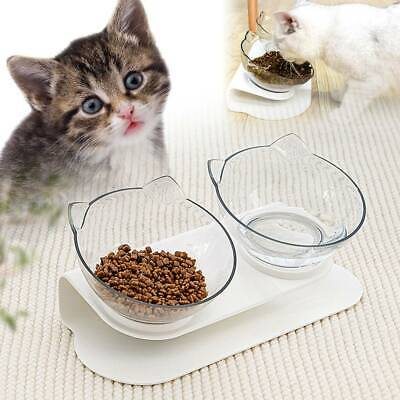 £9.79 • Buy Pet Food Double Bowl Stand Cat Dog Dual Water Feeding Bowl Raised Elevated Angle