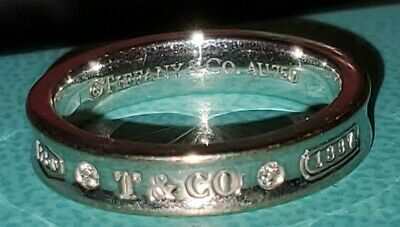 $499 • Buy GORGEOUS AUTHENTIC 18k SOLID GOLD TIFFANY & CO 1837 DIAMOND NARROW RING $1350 S6