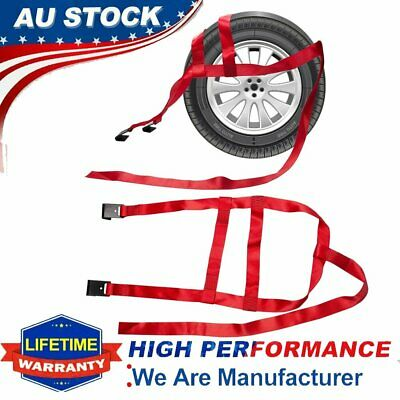 AU42.99 • Buy 2 PCS Car Tire Tow Dolly Straps Basket Strap Flat Adjustable Tow Dolly With Hook