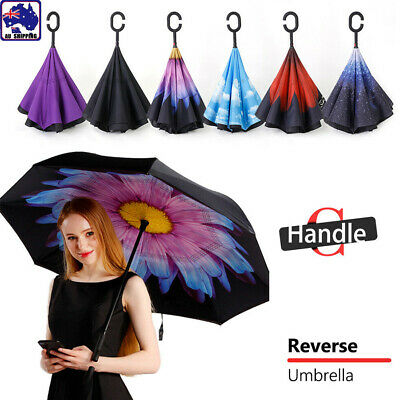 AU21.90 • Buy Windproof Upside Down Reverse Umbrella Layer Inside-Out Inverted C-Handle ORU202
