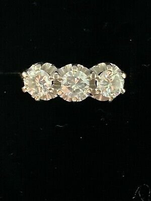 $945 • Buy 3 Stone Diamond Ring - Natural Diamonds - Solid 18k Gold - Not Scrap
