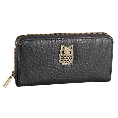 Bonded Leather Owl Zippered Wallet Brushed Metal Paisley Print Coin Pocket Gift • 13.76£