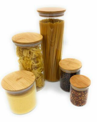 £9.50 • Buy Stylish And Modern Quality Airtight Glass Dry Storage Jars With Bamboo Lids