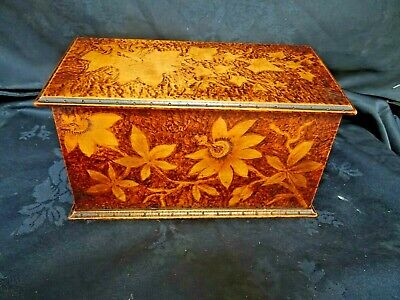 £95 • Buy Antique Arts And Crafts Pokerwork Box