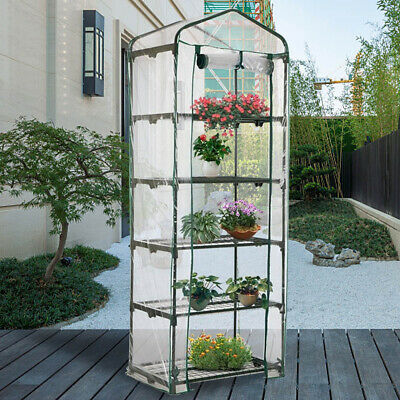 5 Tier Small Greenhouse Bag Garden Plant Cover Clear PVC Plastic Growbag Box • 10.99£