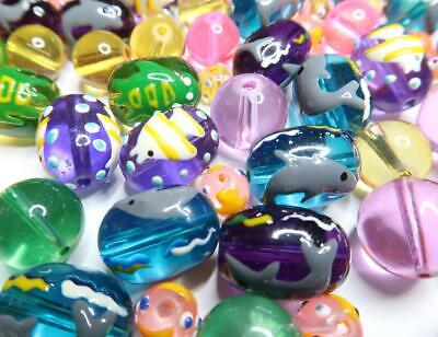 £5.63 • Buy Glass Fish Beads Hand Painted Tropical Fish Turtle Dolphin Mix Color Size 20 Pcs