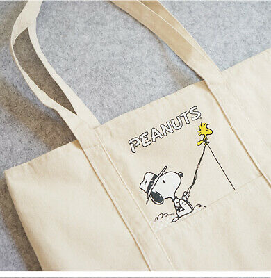 AU12.99 • Buy Again @ Lovely Snoopy Beige Thick 100% Canvas Cotton Pocket Handle Tote Bag