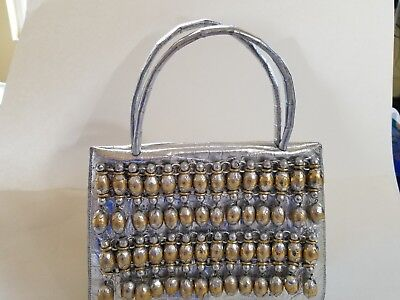 $450 • Buy WOMEN'S NANCY GONZALEZ Silver Crocodile Covered Gold Bead  Handle Bag LOW PRICE!
